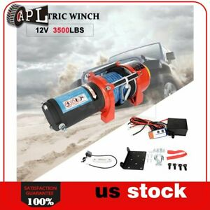 1x Electric Winch Synthetic Rope 12v Truck Trailer Tow 4wd Off Road 1pcs 3500lb