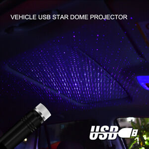 Blue Usb Led Car Interior Roof Lights Star Projector Atmosphere Lamp Decorative