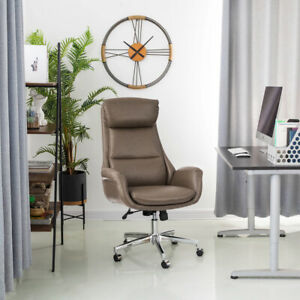 Glitzhome Adjustable Recliner High back Office Chair Executive Swivel Pu Leather