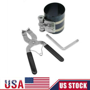 New Ratchet Style Piston Ring Compressor Installer Pliers Engine Tool Us