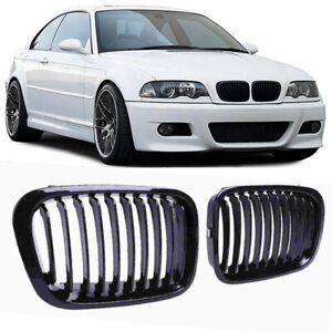 2x Gloss Black Front Kidney Grille Grill For Bmw E46 M3 Coupe 2000 2007