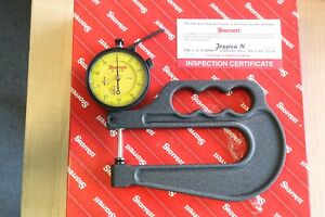 New Starrett Metric Outside Dial Thickness Gage Gauge 0 25mm 0 01mm 100mm Throat