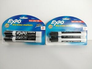 2 Expo Dry Erase Markers Chisel Tip Low Odor Ink Black 2 Count Each