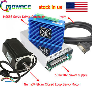 8n m Nema 34 Closed Loop Servo Driver 500w 70v Power Supply For Cnc Machine