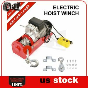 2200lbs 110v Electric Cable Hoist Crane Lift Garage Auto Shop Winch W Remote