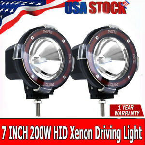 Pair 7 Inch 200w Euro Beam Hid Xenon Driving Spotlight Lights 4x4 4wd Off Road