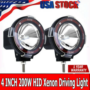 Pair 4 Inch 200w Euro Beam Hid Xenon Driving Spotlight Lights 4x4 4wd Off Road