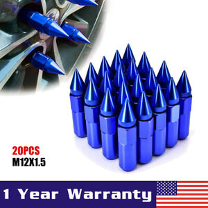 20pcs Blue Cap Spiked Aluminum Extended Tuner M12x1 5mm 60mm Wheel Lug Nuts Rims