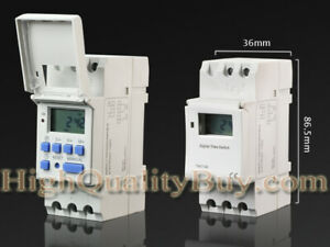 1x Din Rail Mounting Digital Programmable Timer Thc15a Ac 220v Time Switch