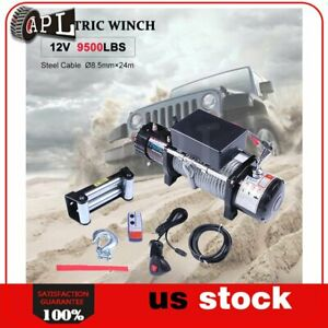 1x Electric Winch Steel Cable 12v Truck Trailer Tow 4wd Off Road 1pcs 9500lb