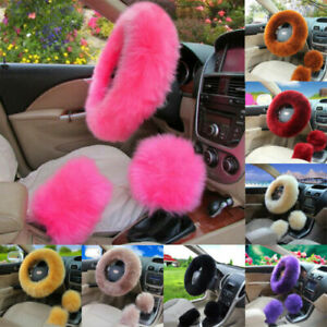 New Universal Car Plush Fuzzy Steering Wheel Cover Wool Fur Gear Knob Shifter