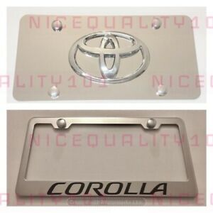 Toyota Corolla Stainless Steel License Plate Frame W Front Plate Combo W Bolt
