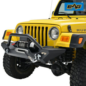 Eag Front Bumper W Winch Plate D Rings Black Fit For 87 06 Jeep Wrangler Tj Yj