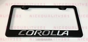 Corolla Stainless Steel Black Finished License Plate Frame Holder Rust Free