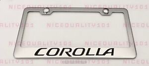 Corolla Stainless Steel Finished License Plate Frame Holder Rust Free