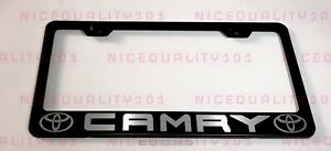 Camry W Logo Stainless Steel Black Finished License Plate Frame Holder Rust Free