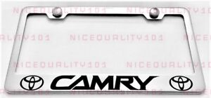 Camry W Logo Stainless Steel Finished License Plate Frame Holder Rust Free