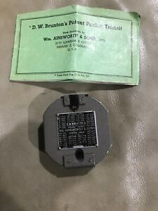 Vintage 1951 D w Bruntons Pocket Transit Compass Ainsworth Sons With Manual