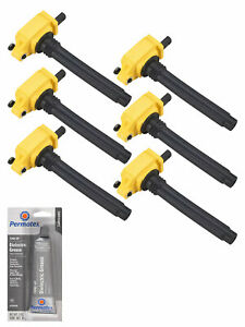 Set Of 6 Yellow Ignition Coil Tune Up Grease For Chrysler 300 3 6l Uf648