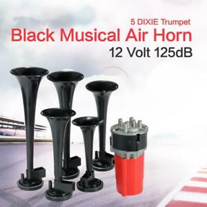 125db Black Trumpet Musical Dixie Car Duke Of Hazzard Compressor 12v Air Horn