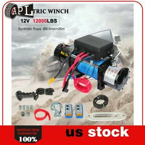 1x Electric Winch Synthetic Rope 12v Truck Trailer Tow 4wd Off Road 1pcs 12000lb
