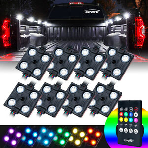 Xprite 8pcs Rgb Led Cargo Truck Bed Rock Lights Pod Remote Control Neon Lighting