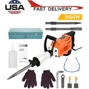 3500w Electric Demolition Jack Hammer Concrete Breaker Punch 2 Chisel 240v Bits