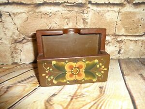 Vintage Business Card Holder Brown Wood Floral Tole Work Hand Painted Wooden
