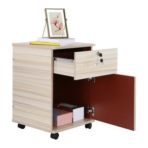 2 Drawer Office Home Mobile Wood File Filing Cabinet Storage Business Furniture