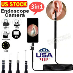 3in1 Led Usb Pro Hd Ear Scoop Endoscope Set Ear Wax Cleaner Otoscope Camera