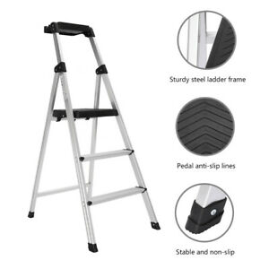 Folding 3 steps Ladder Portable Lightweight Non Slip Safety For Industrial Home