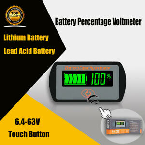 Lcd 6 63v Lithium Lead acid Battery Status Voltage Voltmeter Monitor Meter Car