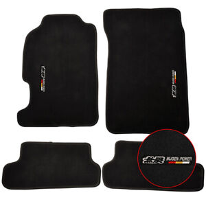 For 97 01 Honda Prelude Floor Mats Carpets Front Rear Nylon Black W Mugen