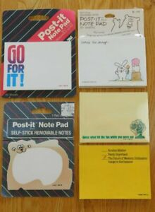 Vintage Lot Of 5 Post it Paper Note Pads Misc new Hallmark Retro 1980 s