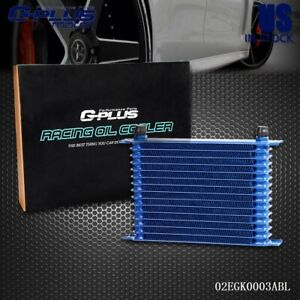 15 Row An10 Blue Powder Coated Aluminum Engine Racing Transmission Oil Cooler