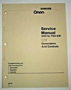 Onan Uv 300 To 750 Kw Generator Controls Service Repair Shop Manual Oem