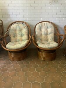 Vintage Pair Rattan Swivel Rocking Chairs Mid Century One Piece Floral Cushions