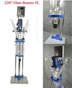 Intbuying220v 5l Jacketed Glass Reactor Reaction Vessel 90w Digital Chemical Lab