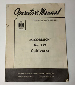 Mccormick No 259 Cultivator Operator s Manual International Harvester Ih