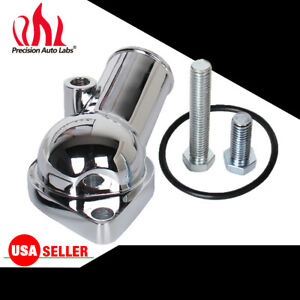 New Sbc Bbc Chrome Water Neck Thermostat Housing 45 Temp Port For Chevy 350 454