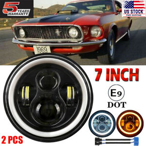 7 Inch Round Led Headlights Projector Drl Turn Signal For Ford Mustang 1965 1978