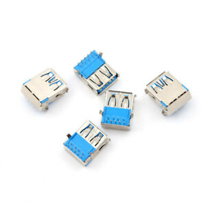 5pcs Usb 3 0 Type A Female Right Angle 9pin Dip Socket Pcb Solder Connector w4