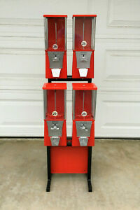4 Red Eagle Gumball Candy Toy Vending Machines Stand Key Renovated Tested