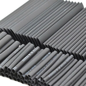 127x Black Glue Weatherproof Heat Shrink Sleeving Tubing Tube Assortment Kit Fw4
