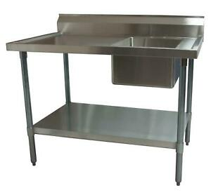 Bk Resources 48 X 30 Stainless Steel Prep Table With Right Side Sink