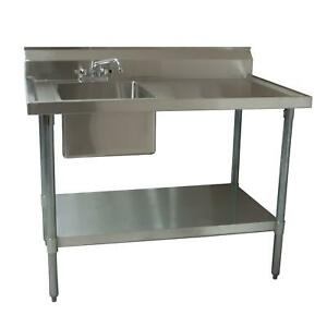 Bk Resources 48 X 30 Stainless Steel Prep Table With Left Side Sink
