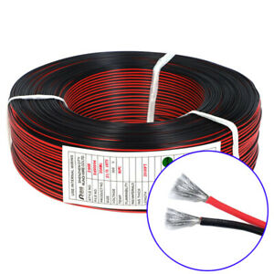 2 core Flexible Rubber Silicone Wire Black Red Flat Ribbon Cable Tinned Copper