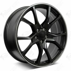 20 R Style Satin Black Machined Stripe Wheels Fits Honda 5 lug Civic Accord