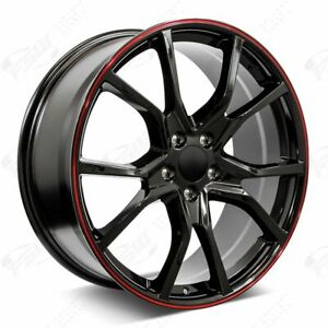 20 R Style Black Red Stripe Wheels Fits Honda 5 lug Civic Accord