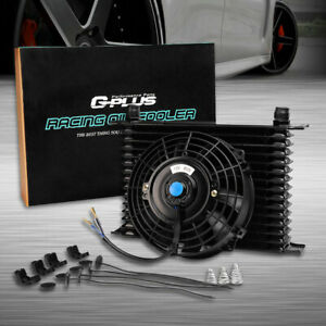 15 Row 10an Universal Transmission Engine Oil Cooler 7 Electric Fan Kit